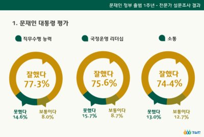 문재인 정부 출범 1년 전문가 설문조사 결과