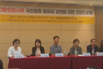GMO완전표시제 국민청원 청와대 답변에 대한 긴급토론회