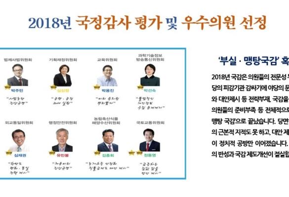 [2018-44호] 2018년 국정감사 평가 및 우수의원 선정