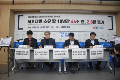[기자회견] 5대 재벌 소유 땅값, 10년간 43.6조, 2.8배 증가