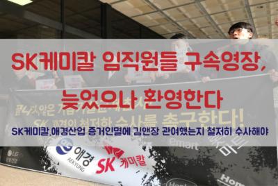 [논평]SK케미칼 임직원들 구속영장, 늦었으나 환영한다