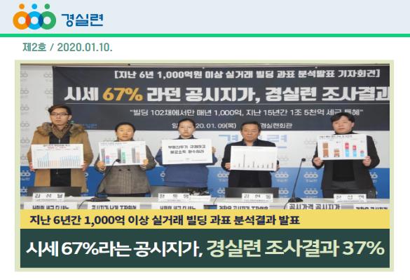 [2020-2호] 시세 67%라던 공시지가, 경실련 조사결과 37%