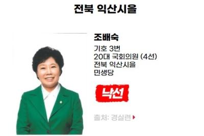 [반개혁과 친재벌] 낙선 대상자 조배숙(전북 익산시을, 민생당)