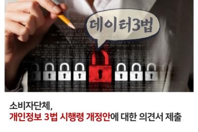[의견서] 소비자단체, 개인정보 3법 시행령 개정안에 대한 의견서 제출