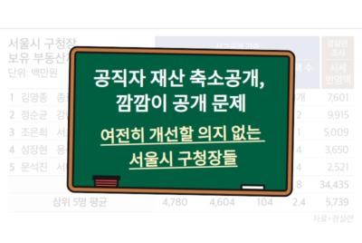 [공개질의] 서울시 구청장 투명한 재산공개 및 불공정 공시지가 개선에 대한 공개질의 답변 결과