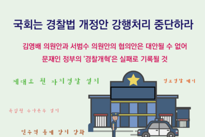 [성명] 국회는 경찰법 개정안 강행처리 중단하라
