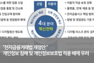 [공동성명] 전자금융거래법 개정안 개인정보 침해 및 개인정보보호법 적용 배제 우려