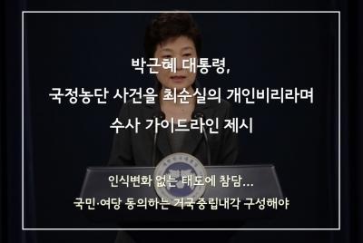 박 대통령, 국정농단 사건을 최순실의 개인비리라며 수사 가이드라인 제시